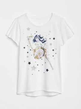 Camiseta feminina infantil com estampa da mulher maravilha