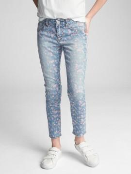 Calça feminina infantil jeans jegging com estampa florida