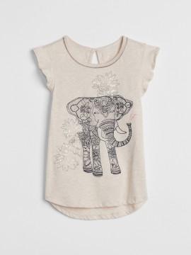 Camiseta feminina infantil estampa elefante