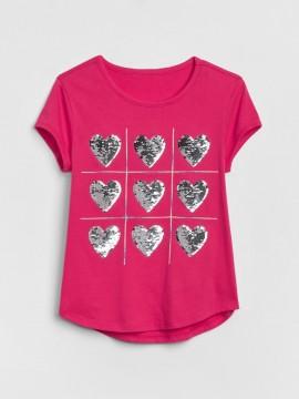 Camiseta feminina infantill com estampa em lantejoula dupla face