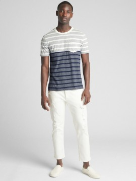 Camiseta masculina adulto com bolso listrada duas cores