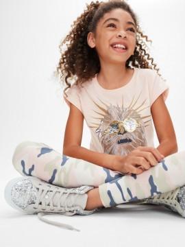 Camiseta feminina infantil com estampa em lantejoula dupla face Star Wars