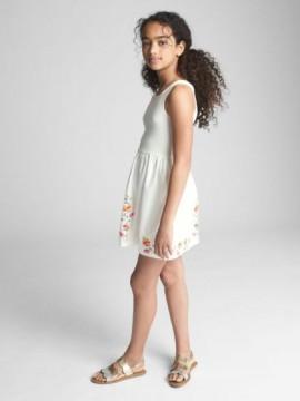 Vestido feminino infantil sem manga liso com flores na barra