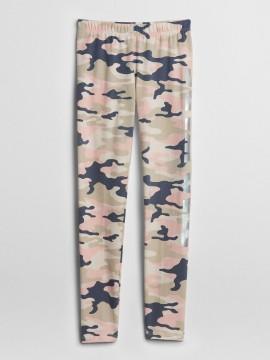 Legging feminina infantil com estampa camuflada