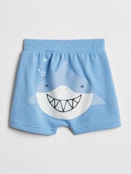 Short baby boy com estampa de tubarão