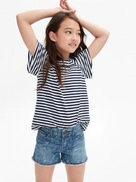 Camiseta feminina infantil básica listrada com gola quadrada