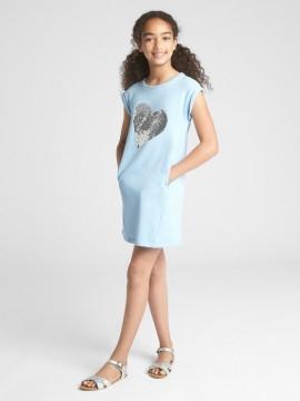 Vestido feminino infantil liso com coração em lantejoula dupla-face