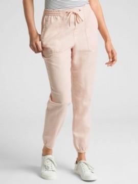 Calça feminina adulto jogger em algodão de linho