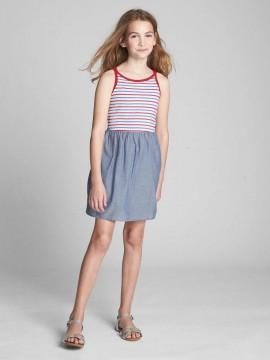 Vestido feminino infantil com alças, listras e jeans