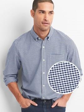 Camisa masculina adulto lisa em oxford stretch