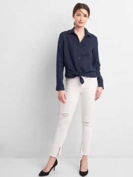 Camisa feminina adulto oversize manga longa de linho com bolso