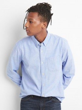 Camisa masculina adulto lisa em oxford stretch