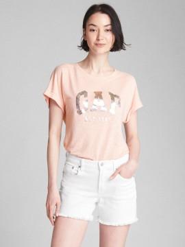 Camiseta feminina adulto lisa com LOGO metálico lightweight