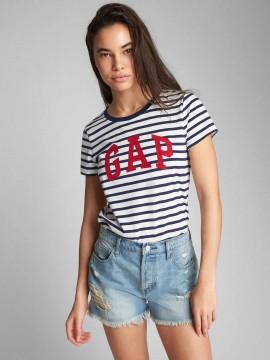Camiseta feminina adulto listrada com LOGO