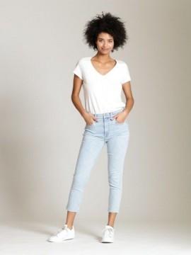 Calça feminina adulto jeans capri stretch skinny cintura alta