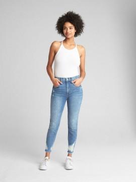 Calça feminina adulto jeans capri stretch skinny cintura alta destroyed