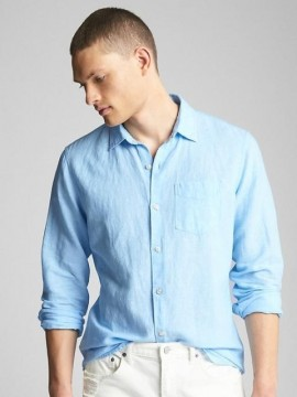 Camisa masculina adulto em linho