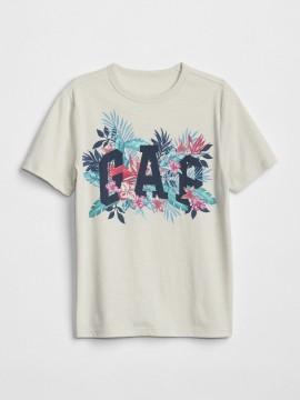 Camiseta infantil masculina com LOGO e folhagem
