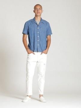 Camisa masculina adulto jeans manga curta