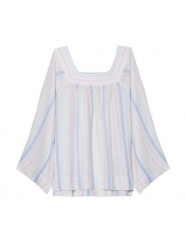 Camisa feminina adulto solta, de linho listrada com gola quadrada