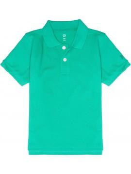Camiseta masculina polo com botões e LOGO na manga