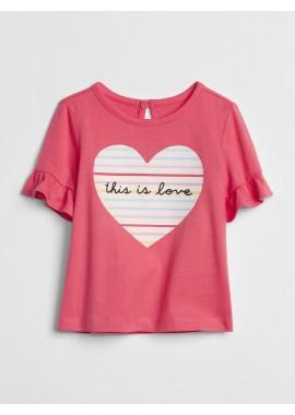 Camiseta baby girl com estampa de coração
