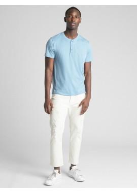 Camiseta adulto masculina lisa com gola de botões