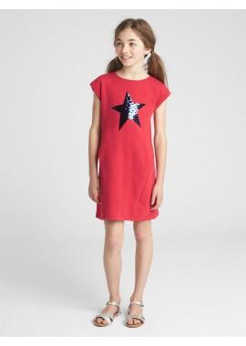 Vestido feminino infantil liso com estrela em lantejoula dupla-face