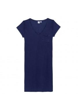 Vestido feminino adulto com decote V e bolso