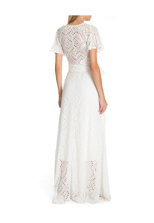 Vestido Longo Wrap De Laise Branco Vestidos Outlet