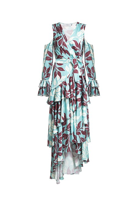 VESTIDO WRAP LONGO TROPICAL LEAVES