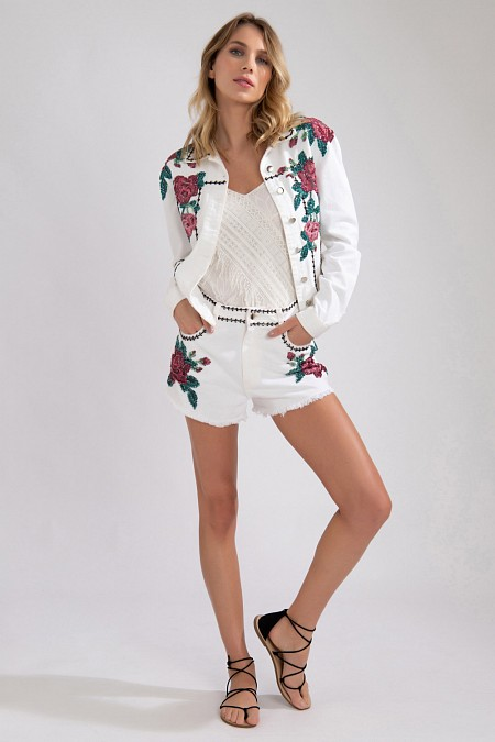 JAQUETA JEANS PATCH FLORAL OFF WHITE