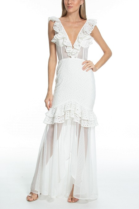 cbcfc5466 VESTIDO LONGO RENDA OFF WHITE - Sale