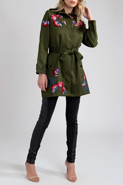 CASACO TRENCH COAT BORDADO