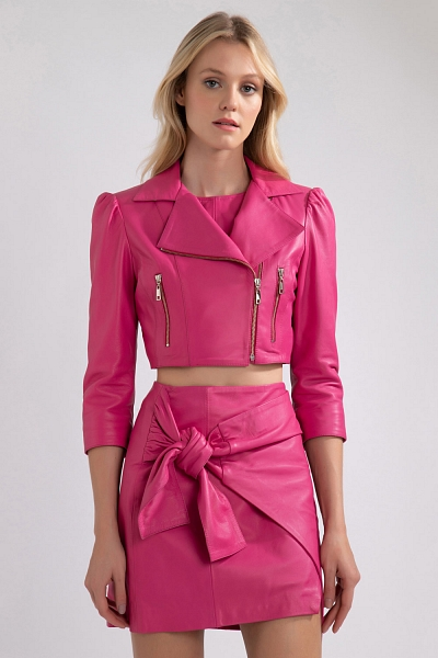 JAQUETA COURO CROPPED PINK