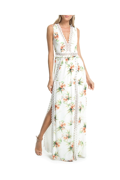 VESTIDO LONGO FLOR DO AGRESTE OFF WHITE