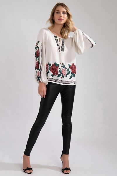 BLUSA ESTAMPA ROSAS OFF WHITE