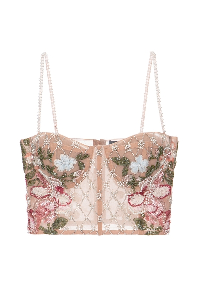 TOP BORDADO FLORAL ROSA