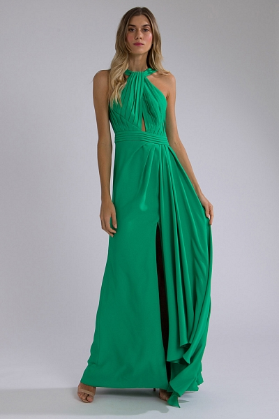 Vestido longo drapeado verde