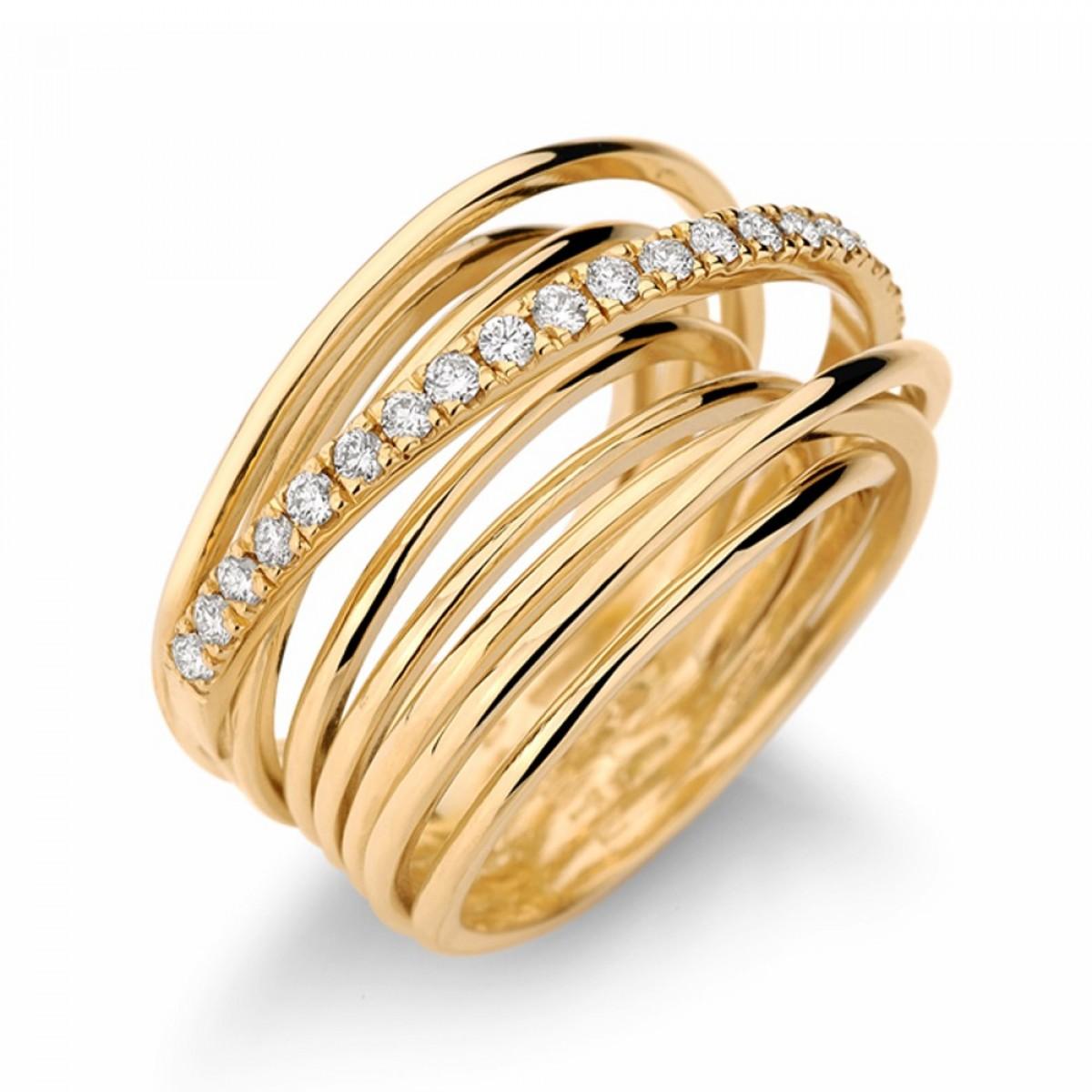 f6434737dfc Anel ouro amarelo 18K com diamantes