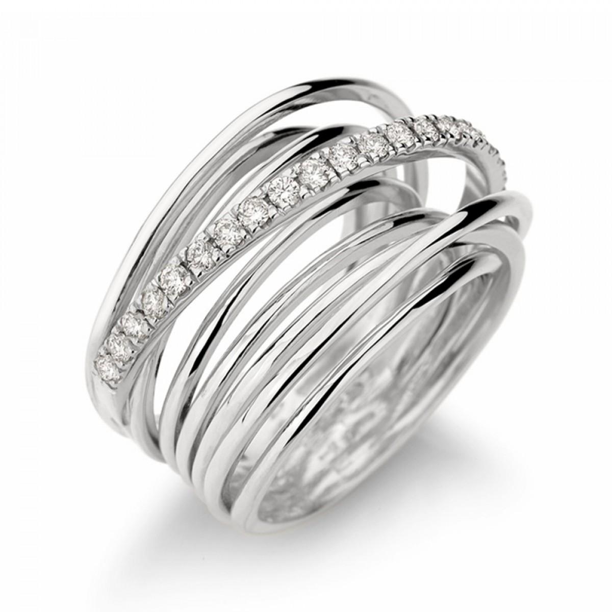 11e1e02fa74c7 Anel ouro branco 18K com diamantes