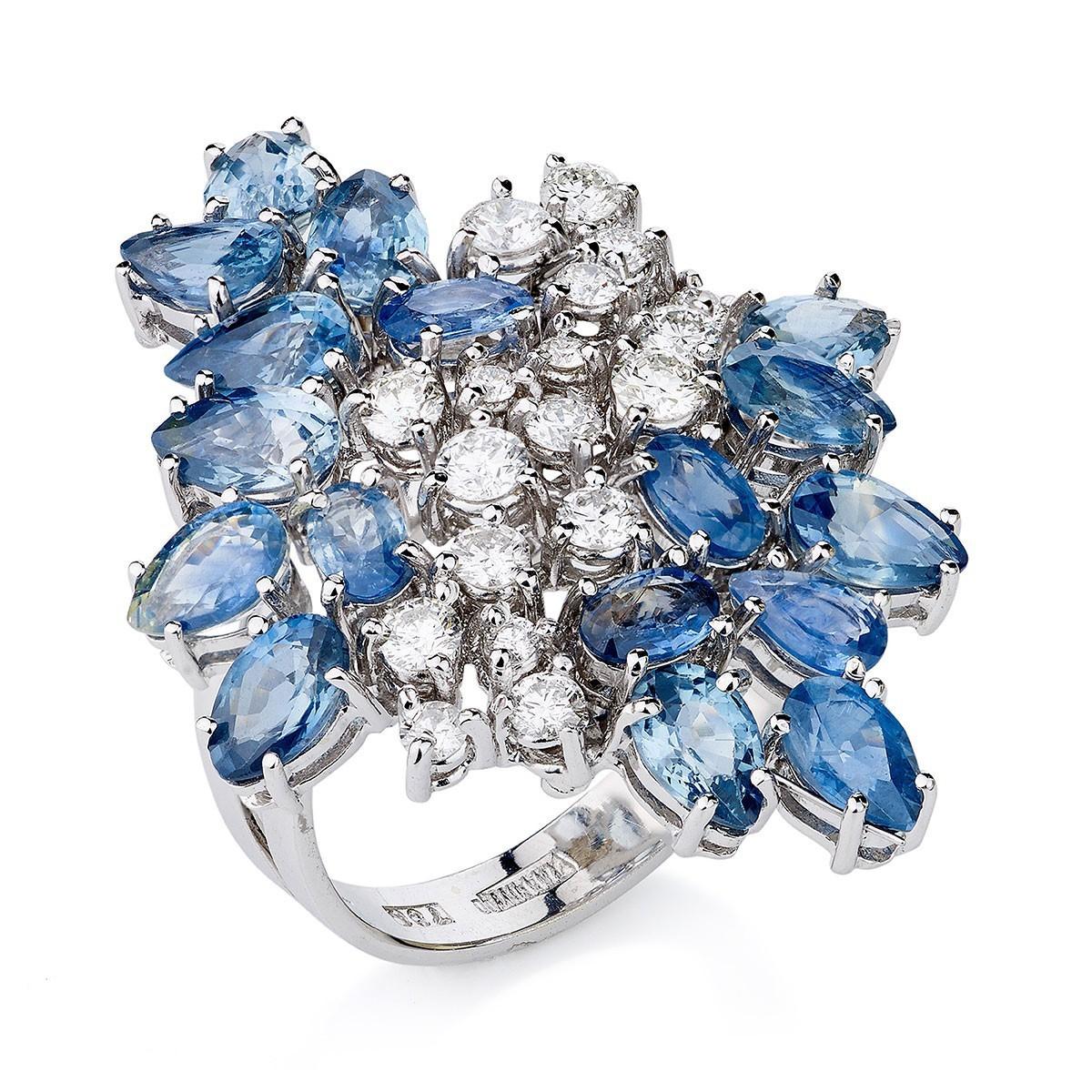97a5e4e5a283b anel flor ouro branco com diamantes e safiras