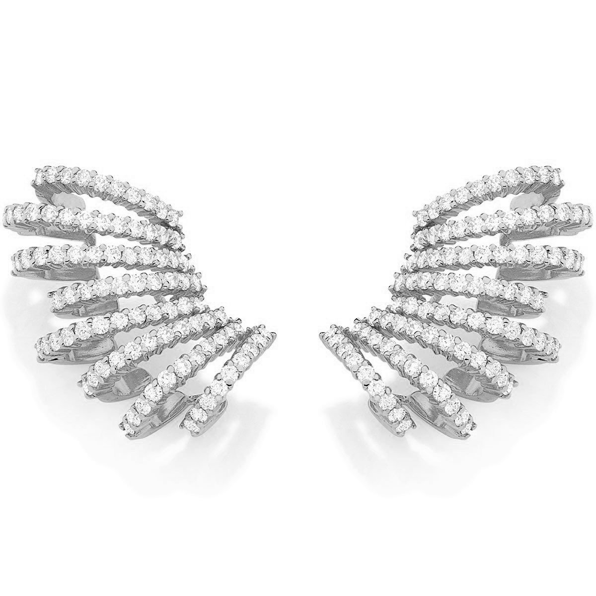 Brinco ear cuff ouro branco 18K com diamantes ac81ab4f5e