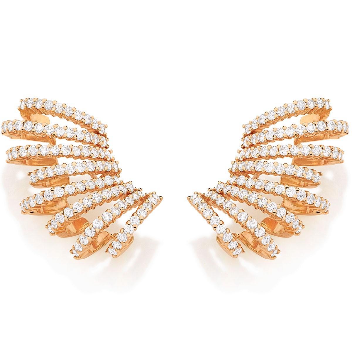 Brinco ear cuff ouro rosa 18K com diamantes 6e78adfff1