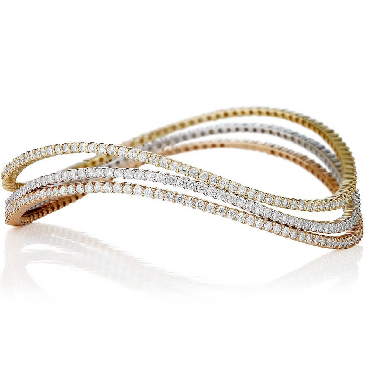 pulseira riviera três fios ouro branco amarelo e rosa com diamantes 6605d42372
