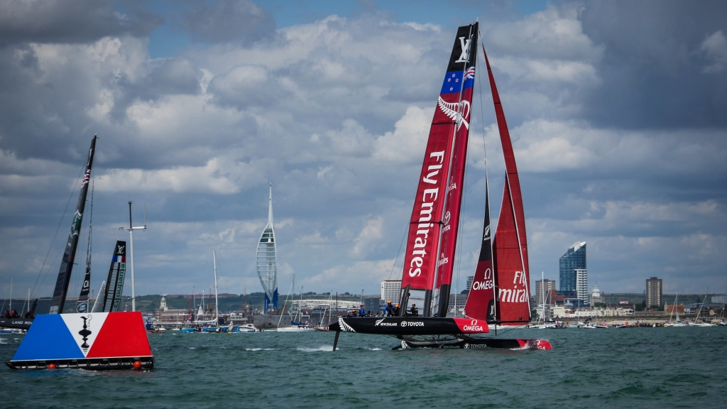 Emirates Team New Zealand sailing on race day one at the Louis Vuitton America's Cup World Series event in Portsmouth, UK