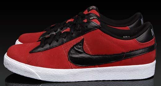 nike sb blazer low premium red and black