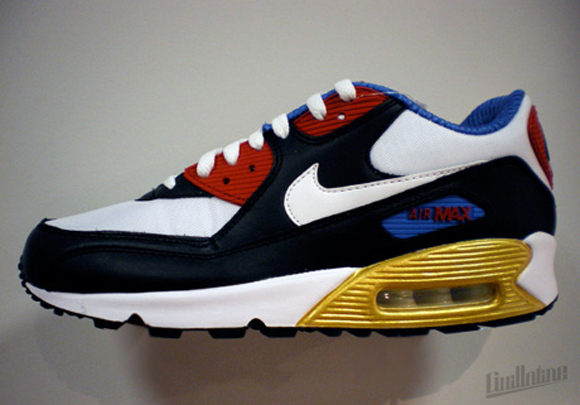 nike air max 90 red blue gold