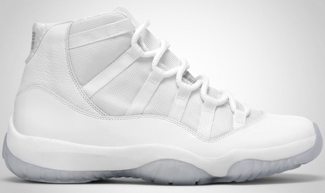 Mens Air Jordan 11 Retro Anniversary White/Silver Leather