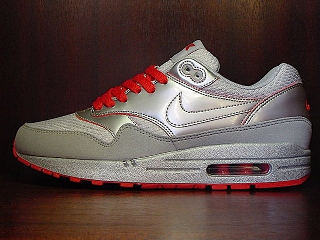 Nike Air Max 1 Air Attack Pack  Silver Sport Red